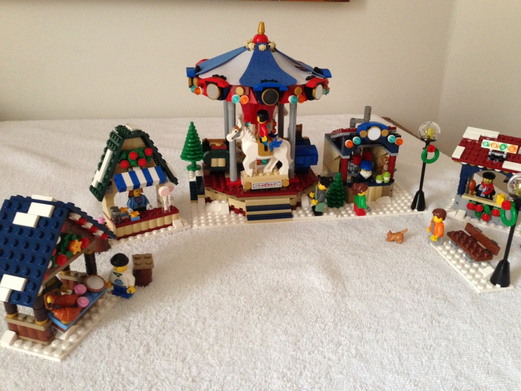 The finished Winter Village Market with its appropriately dressed residents.