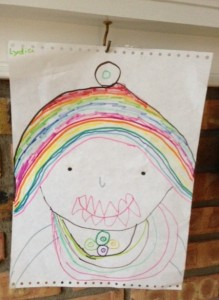 I didn't get a photo of Ed, but I did see this artistic rendition from a student, complete with vampire teeth and bling.