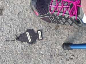 The day after injuring my ankle and knee, I saw this car deodorant tag in a parking lot. I didn't think it was funny.