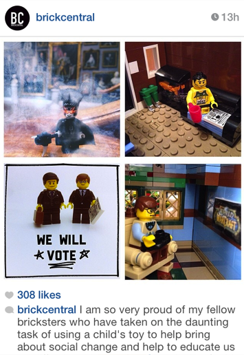 My Brickcentral Instagram feature, along with, top left @legojacker, top right @legopistorius, and bottom left @pulup.
