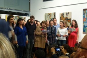 A choir performs in the evening at the Casa da Achada. Our friend Joana is at the right end, in the red dress.