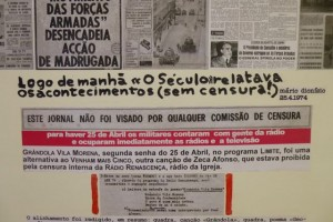 A poster at the Casa da Achada describes the end of censorship after the Carnation Revolution.