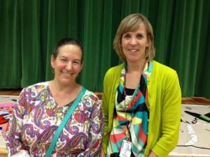 Teachers Karen Lapuk (left) and Susan Parra at the Multicultural Dinner.