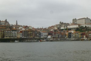 View of the Porto waterfront from Vila Nova de Gaia, in spring 2014.
