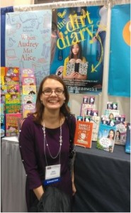 Anna Staniszewski with her new series at the NCTE conference last fall.
