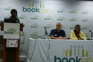 The multicultural publisher panel featured John Byrd of Cinco Puntos Press and Cheryl Willis Hudson of Just Us Books.