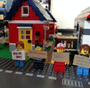 Lego minifigures illustrate a scene from the contemporary YA novel that I'm considering self-publishing.