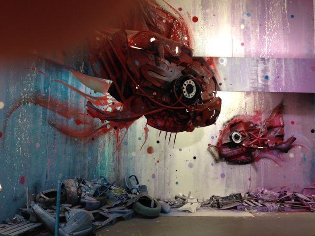"""Dirty Aquarium"" by Bordalo II, one of the pieces from the Armazens do Chiado art exhbit."