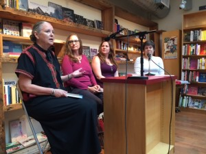 Panelists, from left, Patrice Kindl (Keeping the Castle), Polly Shulman (Enthusiasm), Elizabeth Eulberg (Prom and Prejudice), and moderator Kerri Spennicchia.