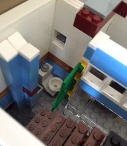 The bathroom on the main floor.
