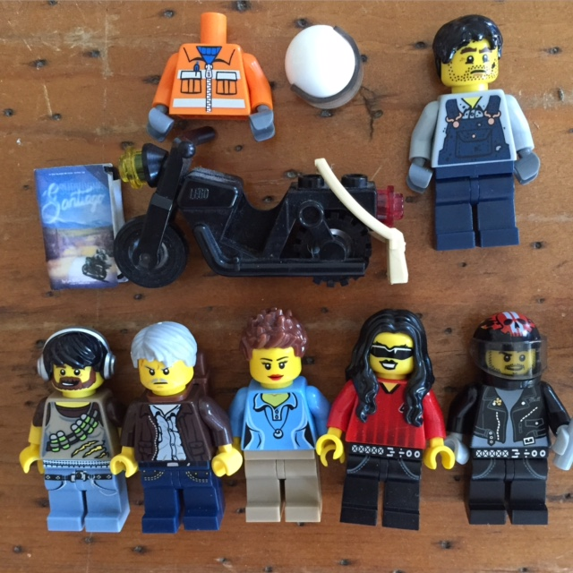 Characters from Surviving Santiago in LEGO. From bottom left, Ernesto, Papá, Tía Ileana, Tina, Frankie. Frankie's father is in the top row along with Frankie's motorcycle and delivery uniform.
