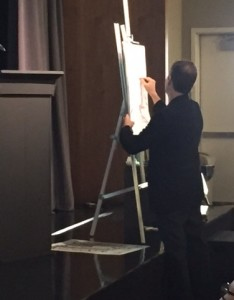 Roger Mello draws at the illustrators' panel, ably moderated by illustrator and PEN Children's Committee co-chair Paul Zelinsky.