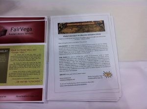GLLI handouts at the FairVega booth at the PLA conference in Denver.