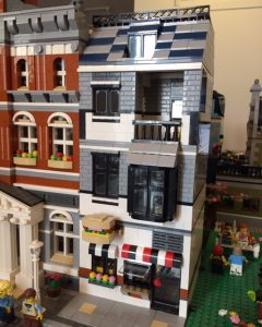 The front of the Deli MOC, which incorporates the sandwich sign from the Creator set.