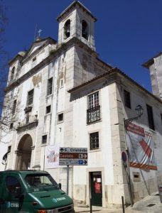 The São Cristovão church, dressed up for renovations.