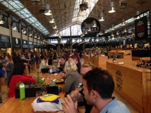 A busy Sunday evening at the Time Out Market. Finding seats is a challenge most nights.