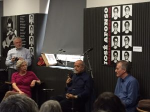 "A panel and concert in honor of José ""Zeca"" Afonso featuring, from left, Irene Pimentel, Rui Pato, and Francisco Fanhais."
