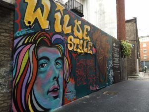 This mural is part of an exhibit of historically-inspired street art organized by the Icon Factory, an artists' collective in Dublin.