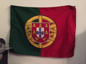 My lucky Portugal flag is next to my desk.